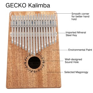 Gecko প্রাকৃতিক কাঠ পেশাদারী 17 চাবি Kalimba