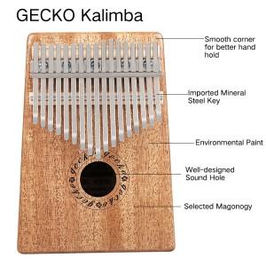 gecko fusta natural professional de 17 tecles kalimba