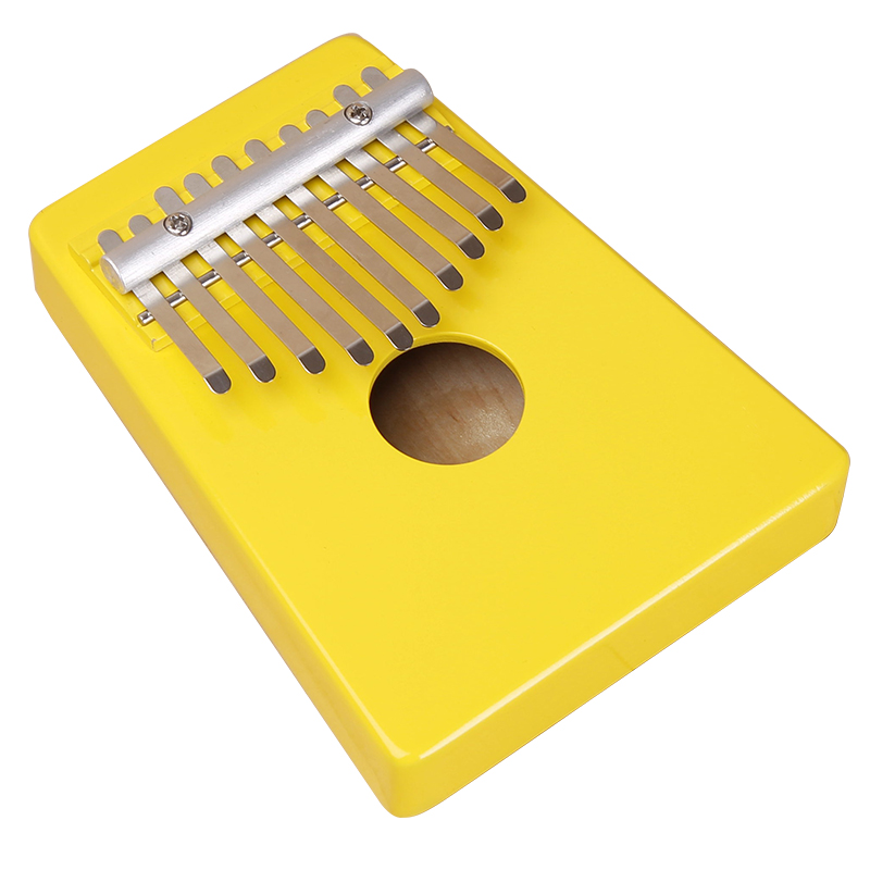 10 Claves Kalimba Mbira likembe Sanza Pulgar Piano pino Amarillo claro Instrumento Venta caliente