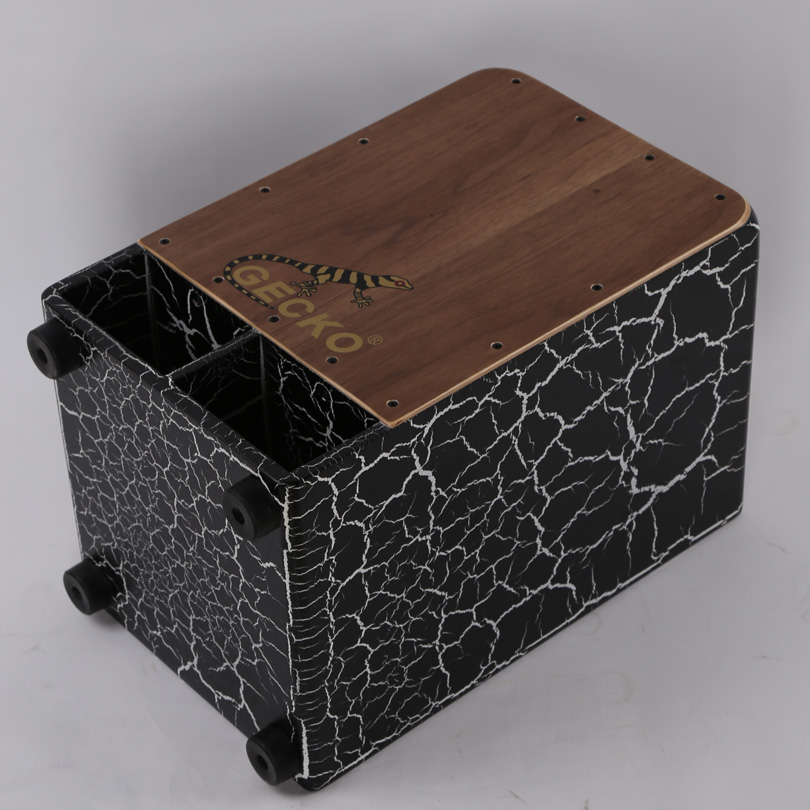 black crack paint special GECKO cajon,walnut tapping in adult learning,drum sticks