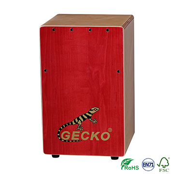 Handmade Cajon Percussion Box Hand Drum set,red and nature color