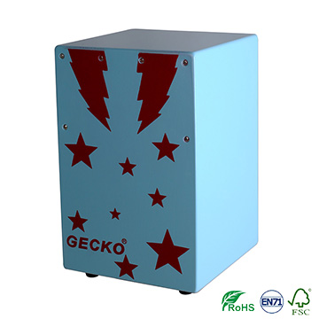 Promotional sale blue cartoon style cajon drum box for children