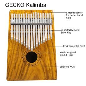 Best Price of China Factory 17 key kalimba GECKO Wooden Kalimba