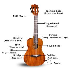 Gecko укулеле, высококачественная оптовая бас-гитара концертная деревянная KOA гавайская гитара |  GECKO