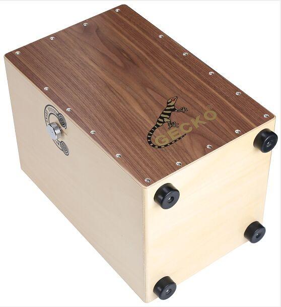 China handmade professional walnut wood cajon ,guitar snare string ,adjustable function drums kits