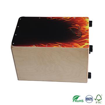 Handmade fire Decals Pattern Cajon Percussion Box Hand drum shell