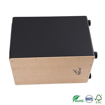 high quality veneer material cajon drum in black color