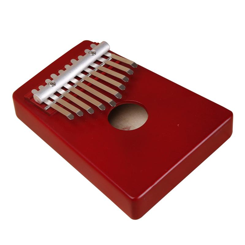 Potable Red 10 Key African Original Kalimba Mbira Finger Thumb Piano Accompaniment Music Instrument